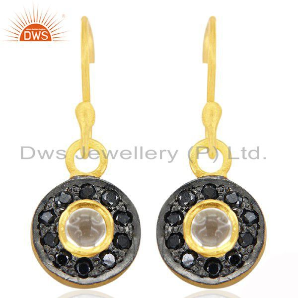 18K Yellow Gold Plated Sterling Silver Crystal Quartz And Black CZ Halo Earrings