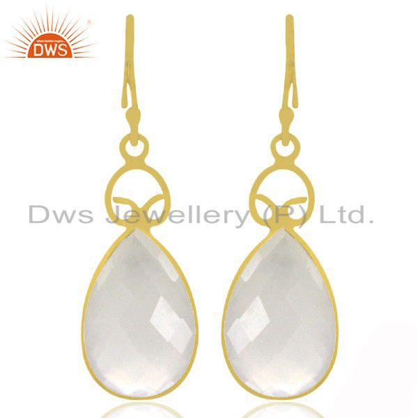 18K Yellow Gold Plated Sterling Silver White Chalcedony Gemstone Drop Earrings