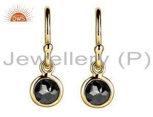 18K Solid Yellow Gold Natural Black Diamond Bezel Set Hook Earrings