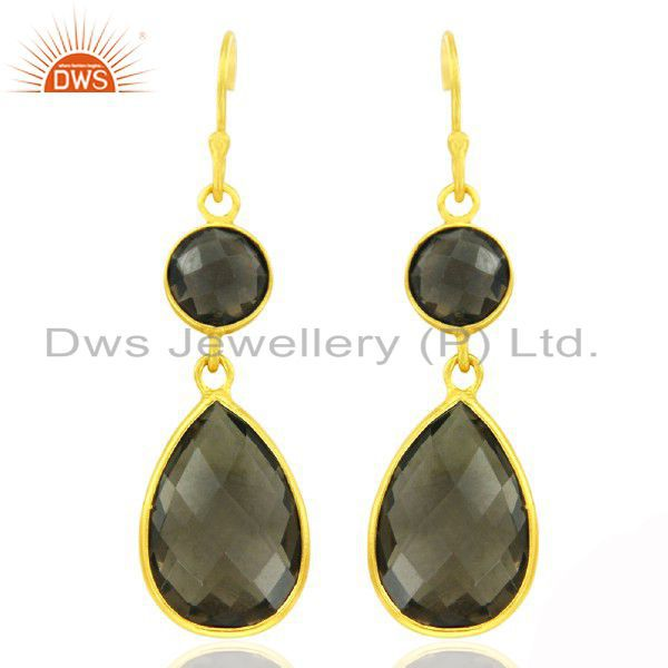 22K Yellow Gold Plated Sterling Silver Smoky Quartz Drop Dangle Earrings