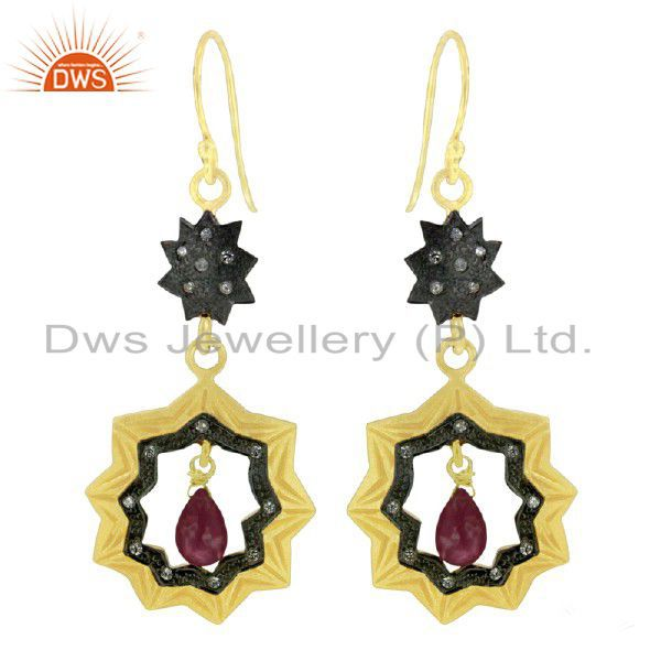 18K Yellow Gold Plated Sterling Silver Pink Tourmaline & CZ Star Dangle Earrings