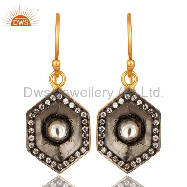 18-Carat Gold Plated Sterling Silver CZ Crystal Polki Dangle Earrings