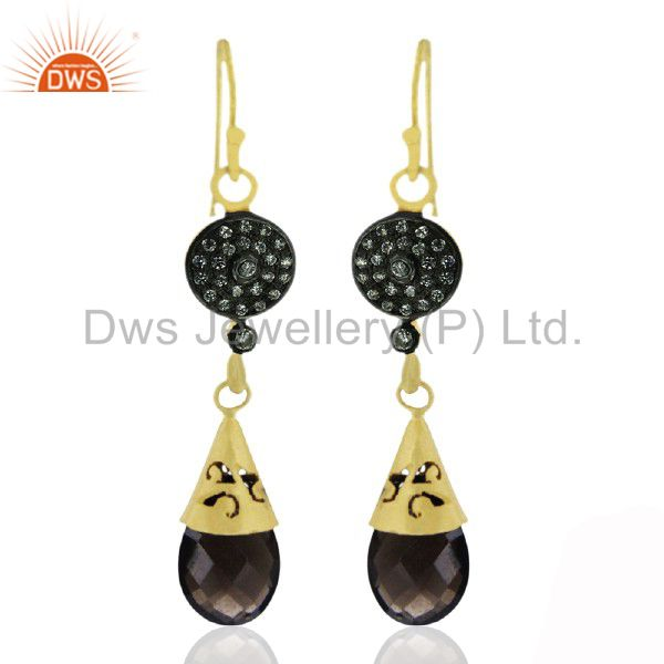 18K Yellow Gold Plated Sterling Silver Smoky Quartz And CZ Drop Earrings