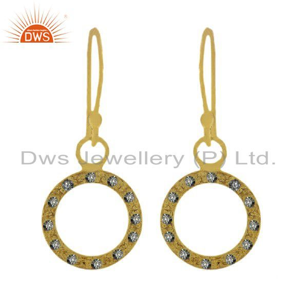 22K Yellow Gold Plated Sterling Silver Cubic Zirconia Open Circle Drop Earrings