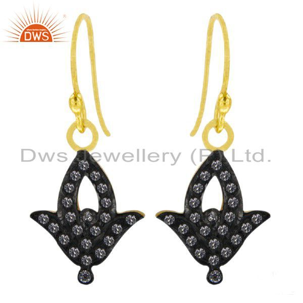 Oxidized 18K Gold Plated Sterling Silver Cubic Zirconia Fashion Drop Earrings