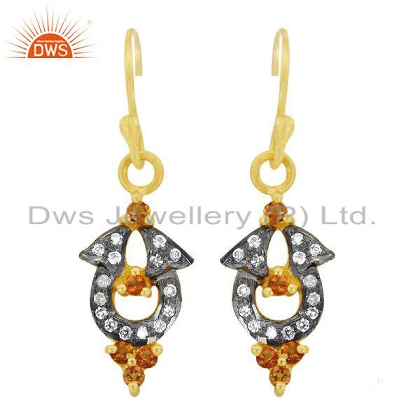 18K Yellow Gold Plated Sterling Silver Citrine And CZ Fashion Dangle Earrings
