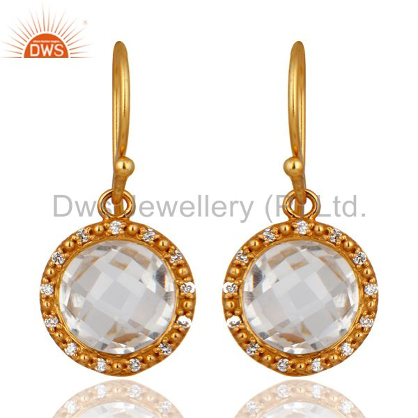 Natural Quartz Crystal 925 Sterling Silver Hook Earrings Cubic Zirconia Jewelry