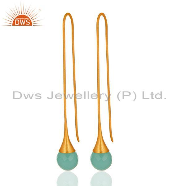 14K Gold Plated Sterling Silver Glass Aqua Chalcedony Briolette Dangle Earrings