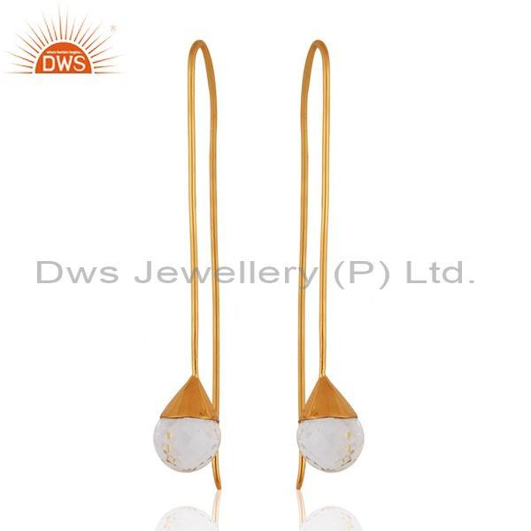 14K Yellow Gold Plated Sterling Silver Crystal Quartz Gemstone Dangle Earrings