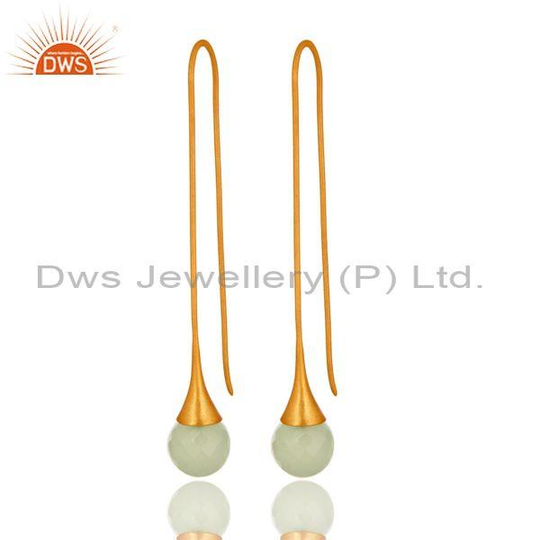Synthetic Green Chalcedony Gold Plated Sterling Silver Long Hoop Drop Earrings