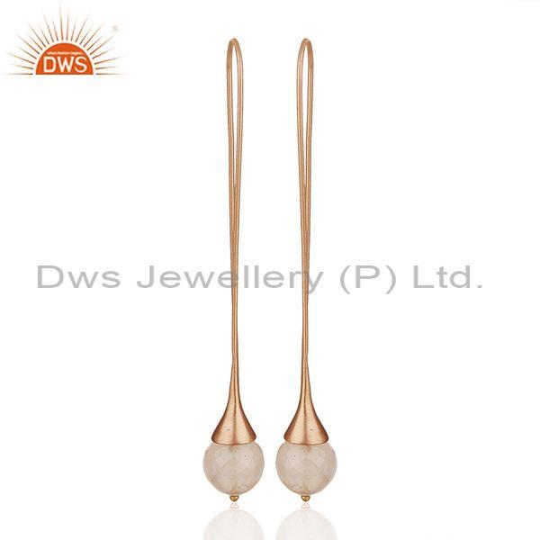 Rose Gold Plated 925 Silver Girls Dangle Earrings Manufacturer