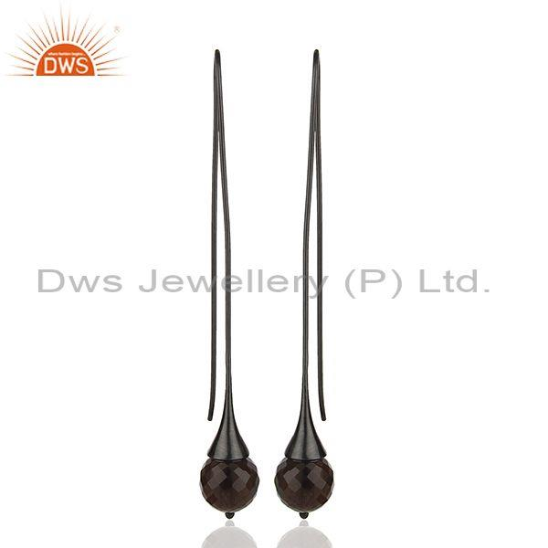 Black Rhodium Plated Silver Smoky Quartz Gemstone Earrings Wholesale