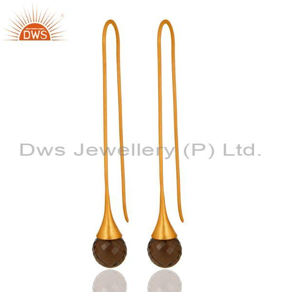Smoky Quartz Briolette Long Dangle Earrings In 18K Gold Over Sterling Silver