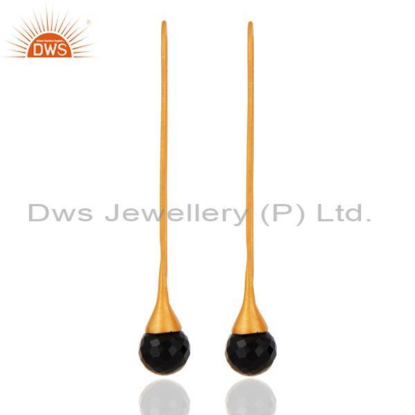 18K Yellow Gold Plated Sterling Silver Faceted Black Onyx Long Dangle Earrings