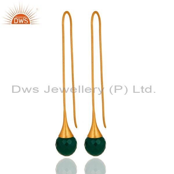 Faceted Green Onyx Briolette Dangle Earrings In 24K Gold Plated Sterling Silver