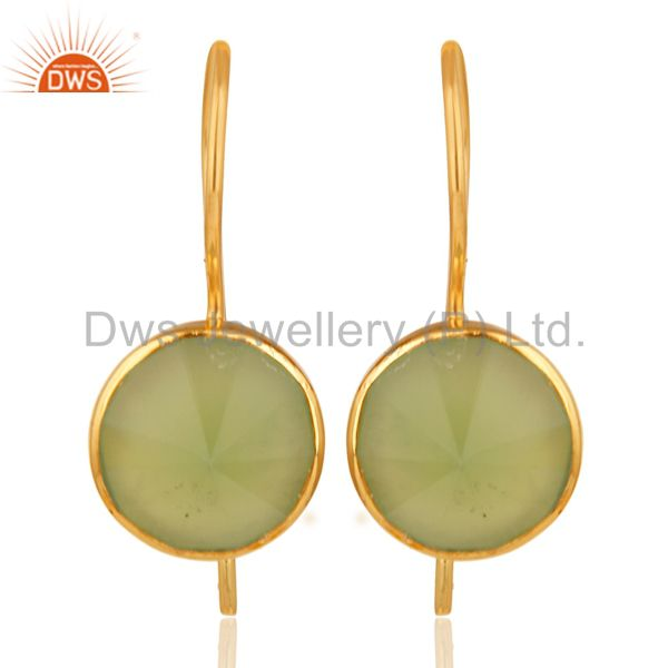 18K Yellow Gold Plated Prehnite Chalcedony Pyramid Earring Brass Earring