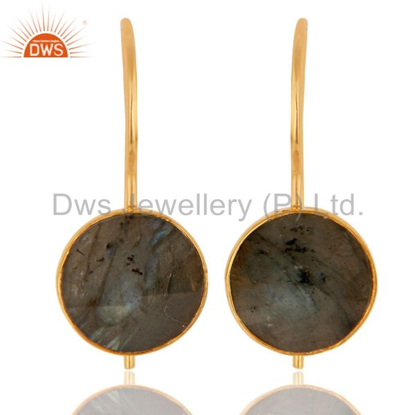 18K Yellow Gold Plated Labradorite Pyramid Earring Sterling Silver Earring