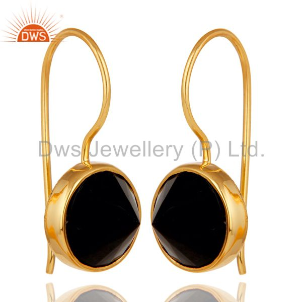 18K Yellow Gold Plated Black Onyx Pyramid Earring Sterling Silver Earring