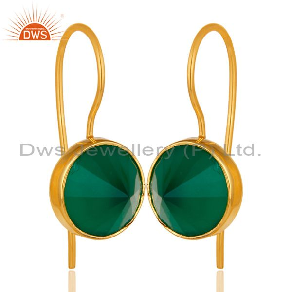 18K Yellow Gold Plated Sterling Silver Green Onyx Bezel Set Gemstone Earrings