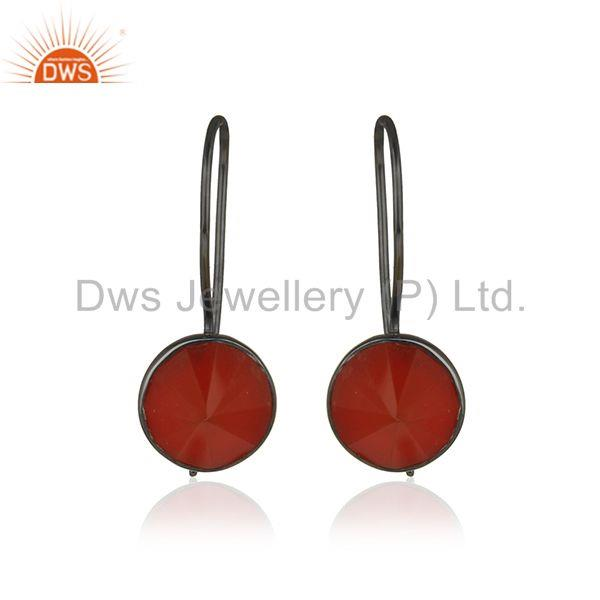 Pyramid Shape Red Onyx Gemstone 925 Silver Drop Earrings Manufacturer from India
