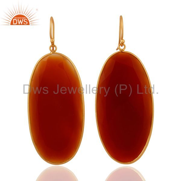 Handcrafted 925 Sterling Silver 22k Gold Plated Red Onyx Gemstone Dangle Earring