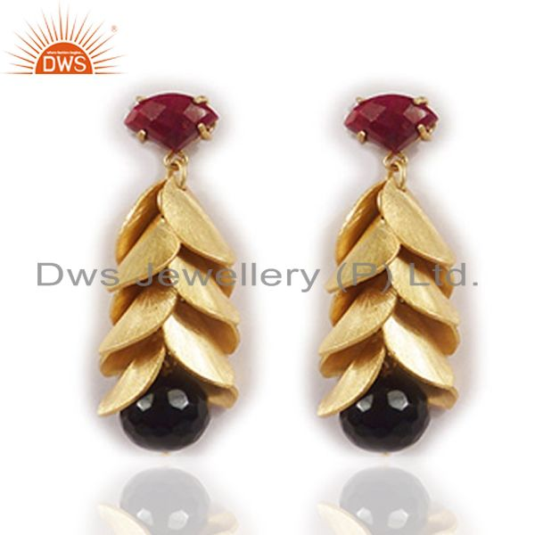 24K Yellow Gold Plated Black Onyx And Red Aventurine Chandelier Earrings