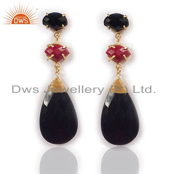 18K Yellow Gold Plated Red Aventurine And Black Onyx Womens Dangle Earrings