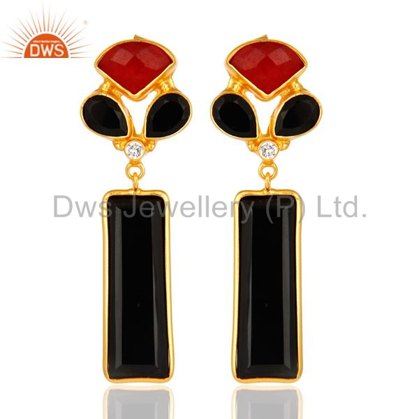 Red Aventurine And Black Onyx Gemstone 14K Yellow Gold Plated Dangle Earrings
