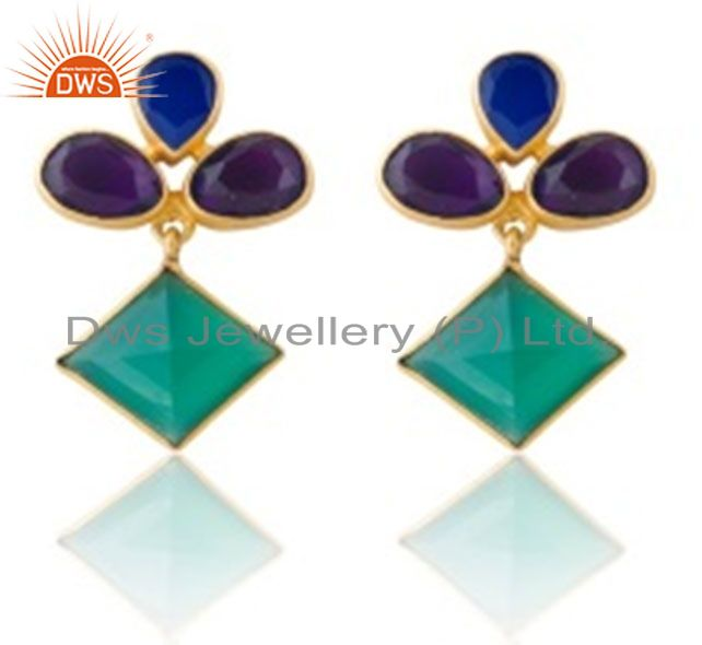 22K Gold Plated Hydro Amethyst, Chalcedony And Green Onyx Dangle Earrings