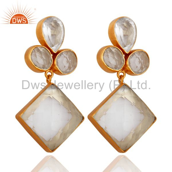 Bezel Set Crystal Quartz Handcrafted 22K Gold Plated Gemstone Earrings