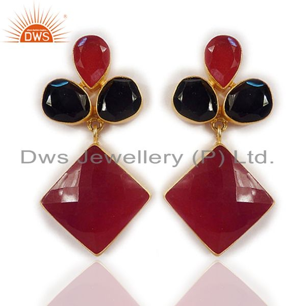 24K Yellow Gold Plated Brass Red Aventurine And Black Onyx Dangle Earrings