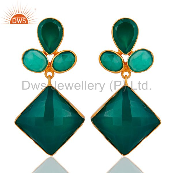Handmade Faceted Green Onyx Bezel Set Dangle Earrings With Yellow Gold Plated
