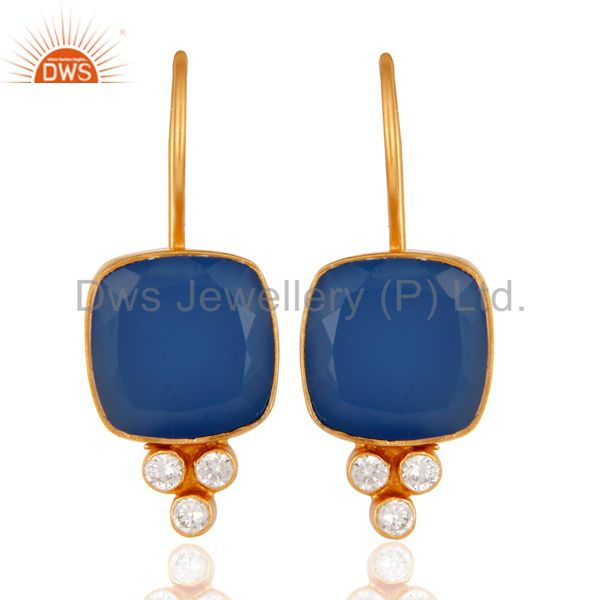 18K Yellow Gold Plated Blue Chalcedony & White Zircon Gemstone Brass Earring