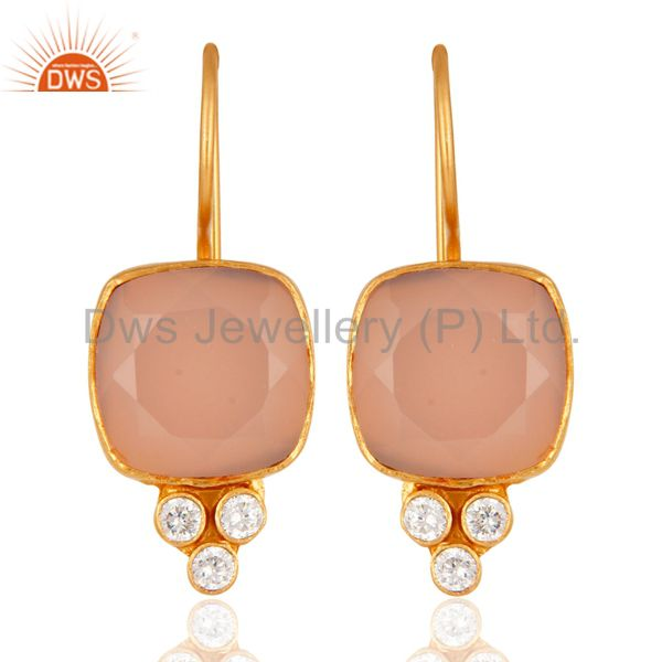 24K Yellow Gold Plated Brass Rose Chalcedony Gemstone Dangle Earrings With CZ
