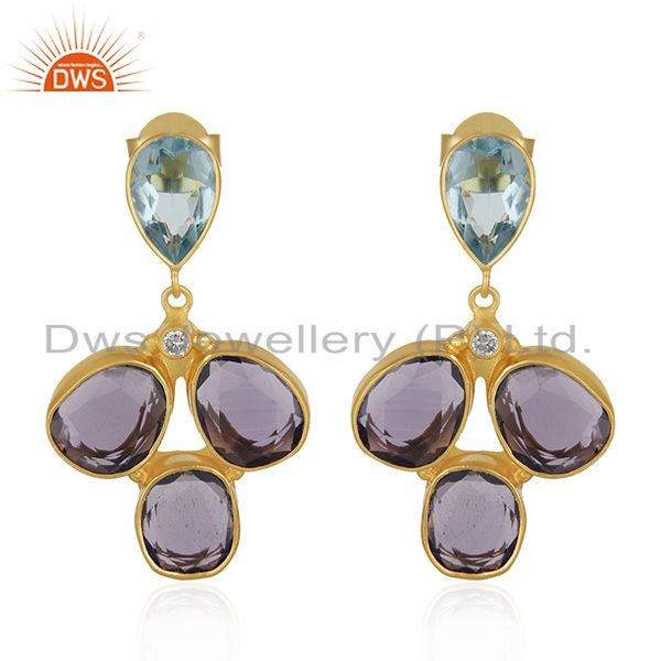 CZ and Hydro Stone Gold Plated Fashion Earrings Jewelry Manufacturer