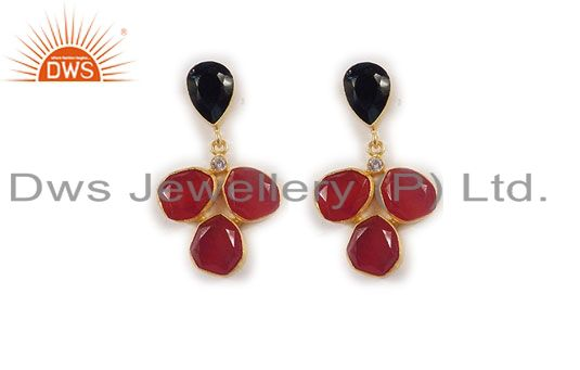 24K Yellow Gold Plated Black Onyx, Red Aventurine And CZ Dangle Earrings