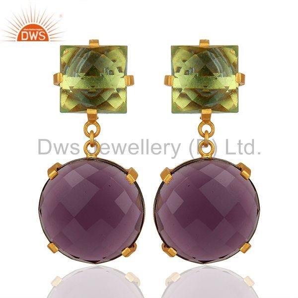 Hydro Amethyst Gemstone Designer Brass Fashion Earrings Supplier