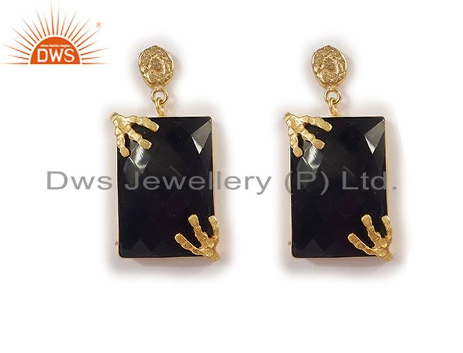 22K Yellow Gold Plated Faceted Black Onyx Gemstone Dangle Earrings