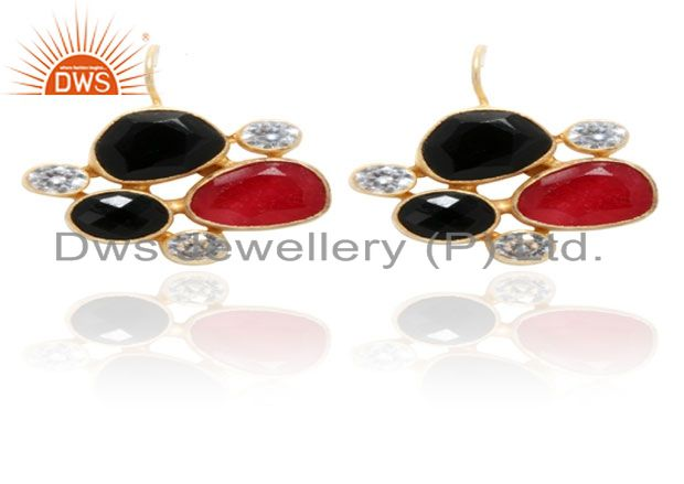 22K Yellow Gold Plated Red Aventurine And Black Onyx Dangle Earrings With CZ