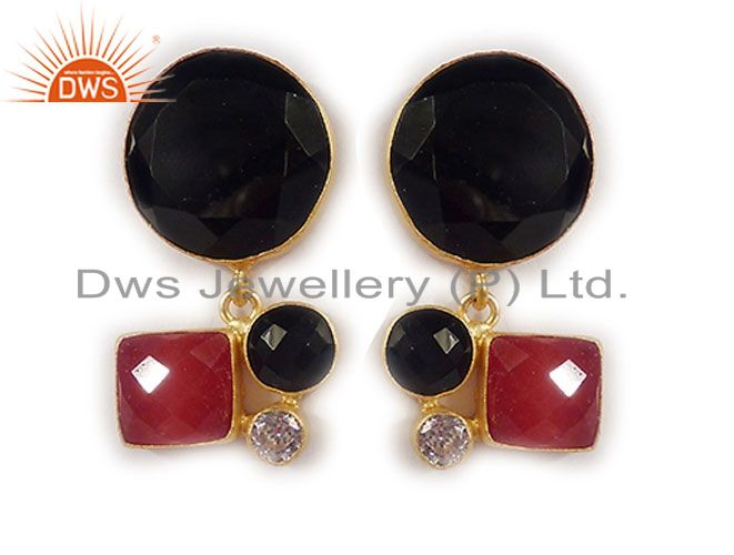 22K Yellow Gold Plated Brass Black Onyx And Red Aventurine Designer Earrings
