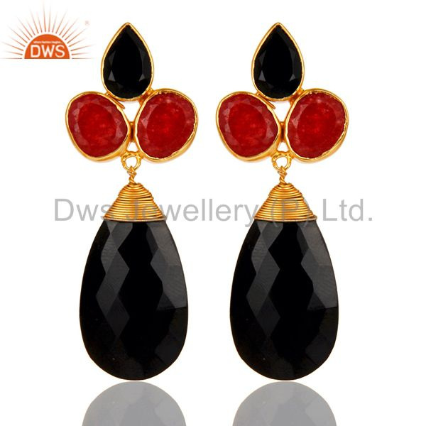 22K Yellow Gold Plated Red Aventurine And Black Onyx Briolette Drop Earrings