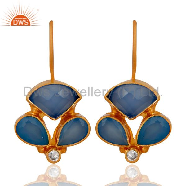 18K Yellow Gold Plated Sterling Silver Aqua Chalcedony Drop Earrings With CZ