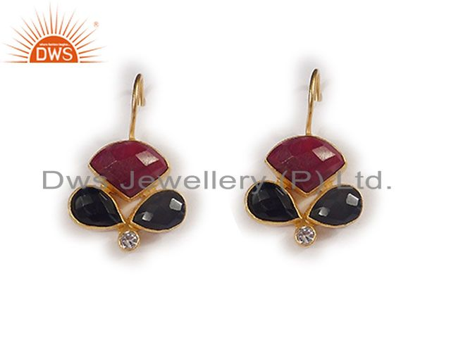 22K Yellow Gold Plated Black Onyx And Red Aventurine Dangle Earrings With CZ