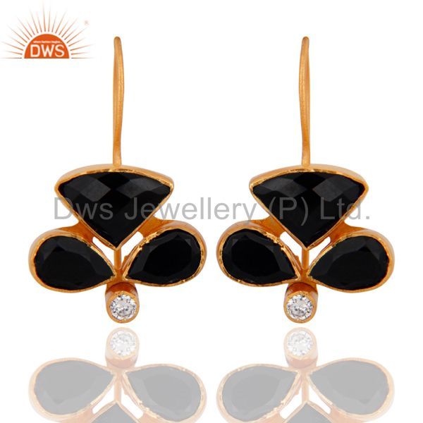 Handmade Black Onyx And Cubic Zirconia 22K Yellow Gold Plated Hook Earrings