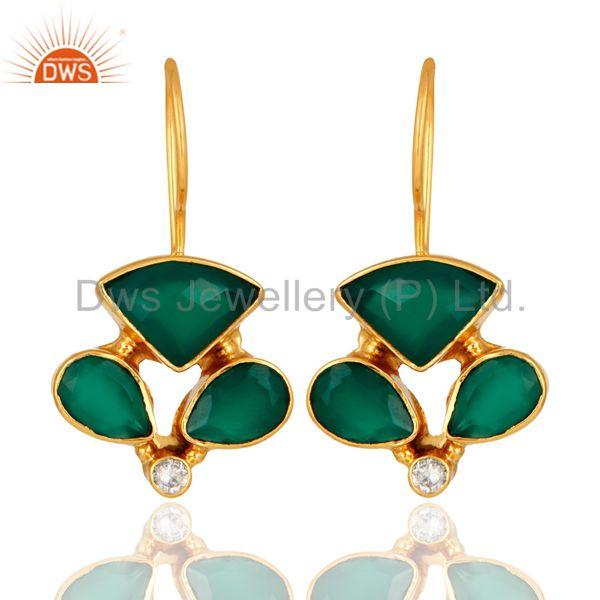 Handmade Faceted Green Onyx Gemstone Designer Earrings - Yellow Gold Plated
