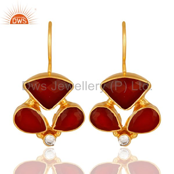 Faceted Red Onyx Gemstone And CZ Designer Earrings With Yellow Gold Plated
