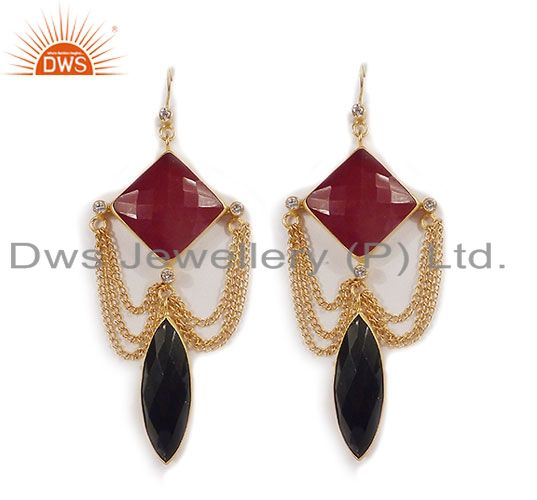 24K Yellow Gold Plated Black Onyx, Red Aventurine And CZ Chain Dangle Earrings