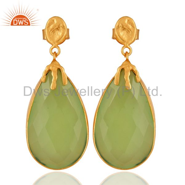 22K Yellow Gold Plated Brass Green Chalcedony Gemstone Bezel Set Dangle Earrings