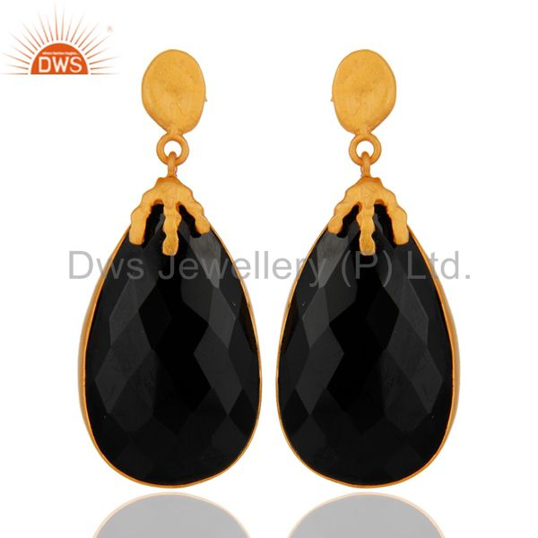 Natural Black Onyx Gemstone Dangle Earring Made In 18K Gold Over brass