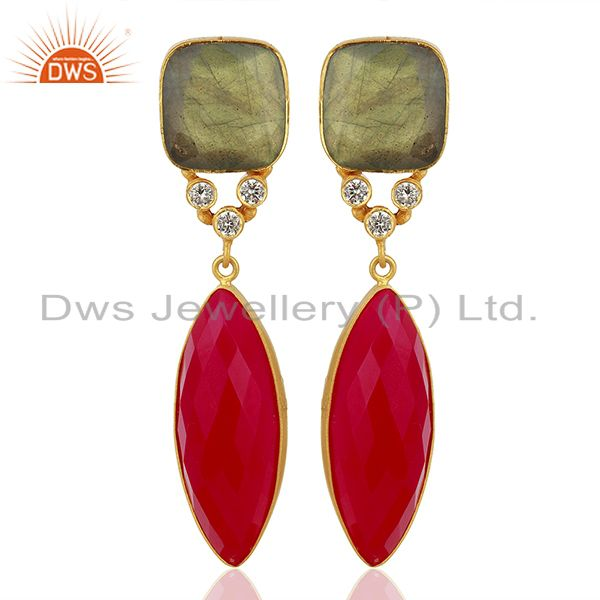 Zircon Labradorite Gemstone Gold Plated Fashion Earrings Supplier